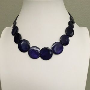 Navy blue short necklace with matching earrings